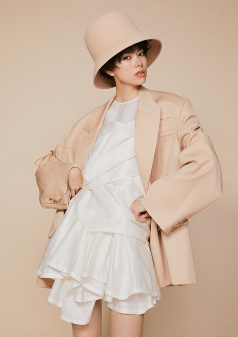 Clothing, White, Outerwear, Coat, Skin, Pink, Fashion, Shoulder, Beige, Trench coat,