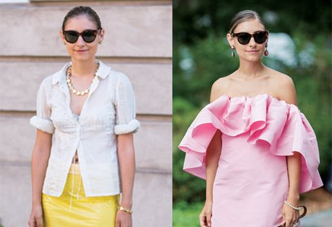 Clothing, Pink, White, Shoulder, Eyewear, Sunglasses, Yellow, Street fashion, Fashion, Dress,