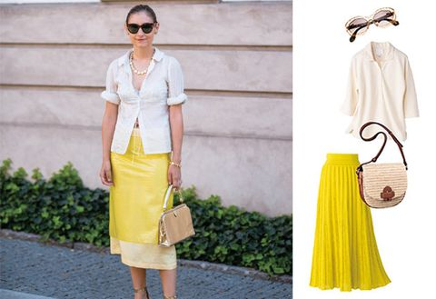 Clothing, Yellow, White, Fashion, Street fashion, Dress, Footwear, Waist, Pencil skirt, Neck,