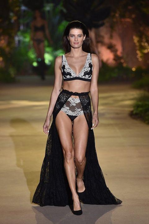 Fashion model, Fashion, Fashion show, Clothing, Runway, Beauty, Haute couture, Model, Navel, Bikini,