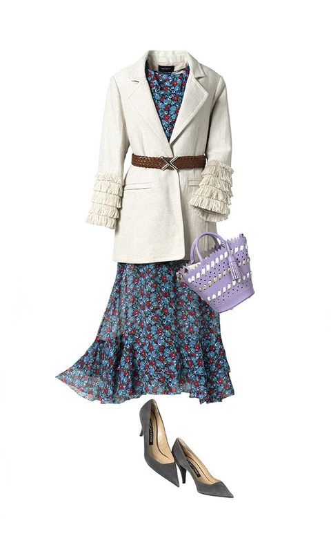 Clothing, Dress, Outerwear, Fashion, Beige, Sleeve, Footwear, Coat, Day dress, Jacket,
