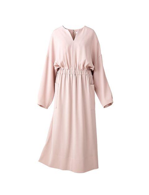Clothing, Pink, Dress, Sleeve, Robe, Nightwear, Day dress, Collar, Neck, Beige,