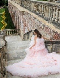 Gown, Wedding dress, Dress, Clothing, Photograph, Bride, Pink, Bridal clothing, Strapless dress, Lace,
