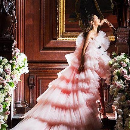 Gown, Wedding dress, Dress, Clothing, Bridal clothing, Bride, Shoulder, Pink, Fashion, A-line,