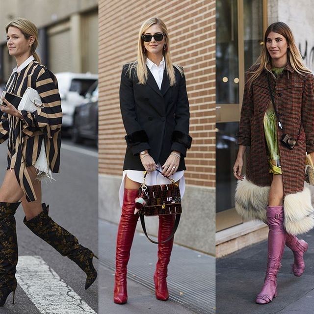 Street fashion, Clothing, Fashion, Footwear, Boot, Knee-high boot, Knee, Snapshot, Joint, Leg,
