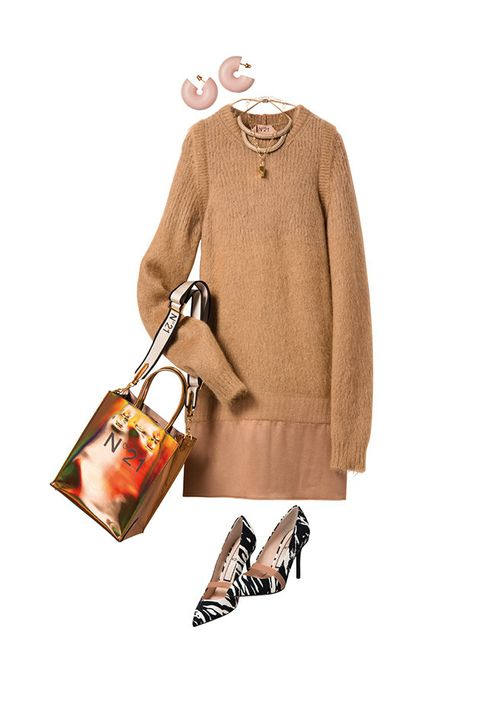 Clothing, Orange, Fashion, Brown, Outerwear, Footwear, Beige, Peach, Dress, Sleeve,