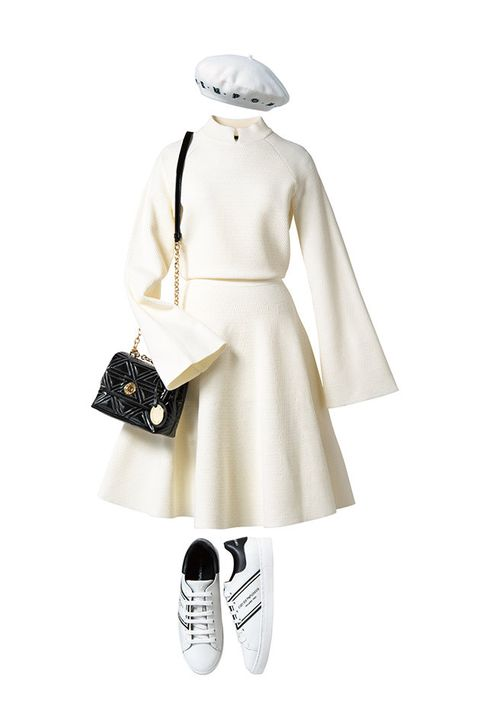 White, Clothing, Dress, Footwear, Fashion, Shoulder, Joint, Handbag, Outerwear, Black-and-white,