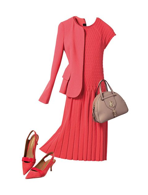 Clothing, Pink, Red, Dress, Footwear, Outerwear, Fashion, Formal wear, Sleeve, Magenta,
