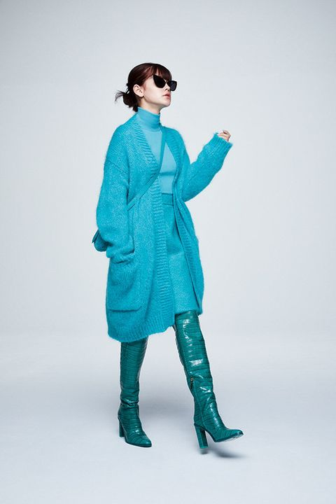 Clothing, Outerwear, Blue, Aqua, Turquoise, Fashion, Costume, Trench coat, Overcoat, Coat,