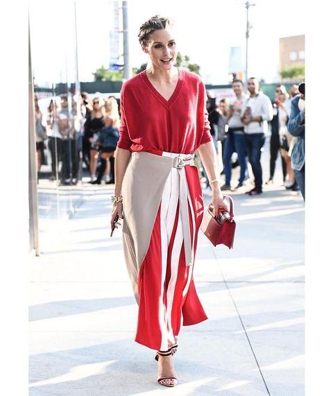 Clothing, Street fashion, Fashion, White, Red, Dress, Fashion model, Shoulder, Maroon, Footwear,