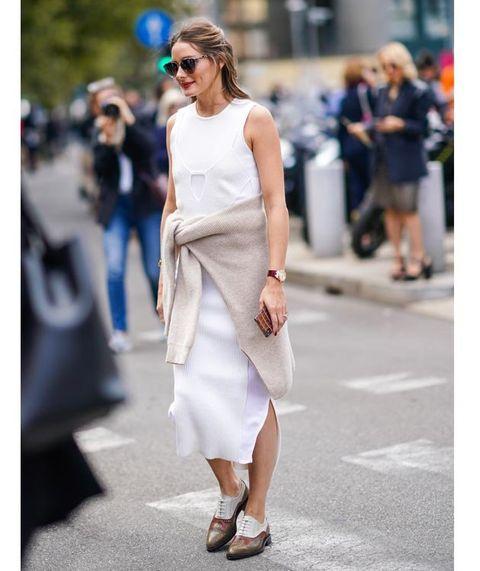 White, Clothing, Street fashion, Fashion, Shoulder, Dress, Fashion model, Footwear, Sunglasses, Snapshot,