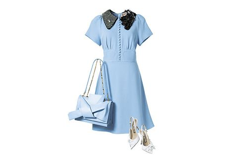 Clothing, White, Blue, Dress, Day dress, Sleeve, Footwear, Collar, Textile, Neck,