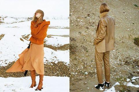 Clothing, Fashion, Street fashion, Outerwear, Orange, Fashion model, Yellow, Footwear, Coat, Trench coat,