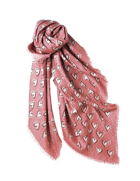 Pink, Scarf, Fashion accessory, Stole, Brown, Pattern, Design, Beige, Visual arts, Motif,