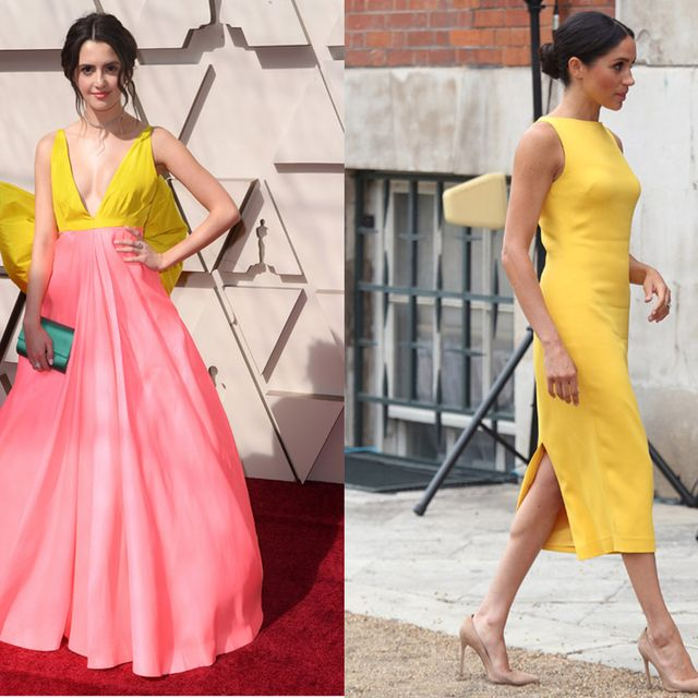 Dress, Clothing, Yellow, Shoulder, Fashion model, Gown, Fashion, Cocktail dress, A-line, Pink,