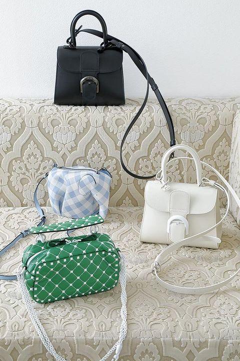 Bag, Handbag, White, Green, Fashion accessory, Design, Material property, Shoulder bag, Silver, Pattern,