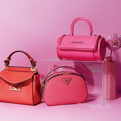 Handbag, Bag, Pink, Product, Red, Beauty, Fashion accessory, Magenta, Material property, Hand luggage,