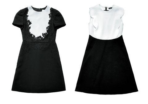 Clothing, Black, White, Dress, Day dress, Cocktail dress, Little black dress, Sleeve, Neck, A-line,