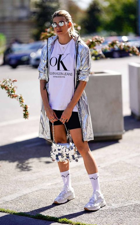 Street fashion, White, Eyewear, Clothing, Fashion, Shoulder, Footwear, Joint, Fashion model, Sunglasses,