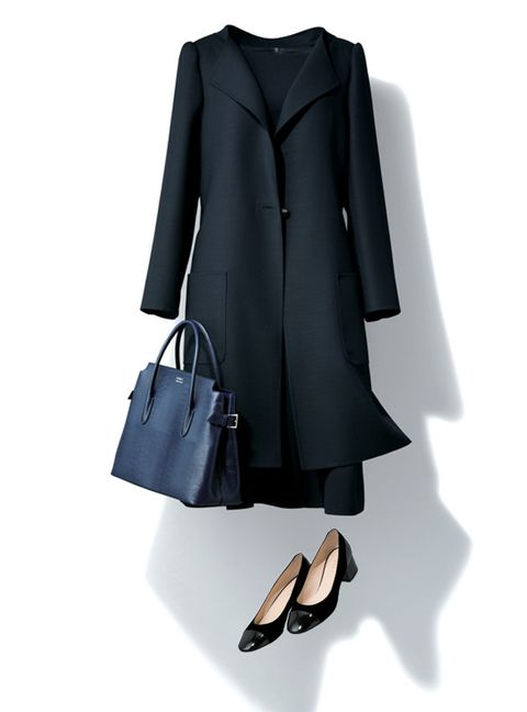 Clothing, Black, Coat, Outerwear, Trench coat, Footwear, Sleeve, Formal wear, Overcoat, Dress,