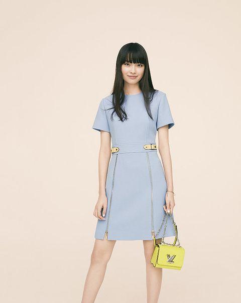 Clothing, White, Blue, Shoulder, Dress, Fashion, Waist, Day dress, Yellow, Sleeve,