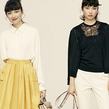 華やかスカートとツインニットのモデル
