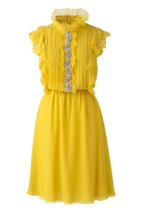 Clothing, Day dress, Yellow, Dress, Cocktail dress, Sleeve, Ruffle, Neck, Collar, A-line,