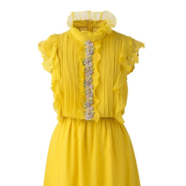 Clothing, Yellow, Day dress, Dress, Cocktail dress, Sleeve, Ruffle, Neck, Collar, Fashion accessory,