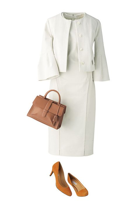 Clothing, White, Brown, Footwear, Tan, Sleeve, Dress, Outerwear, Formal wear, Coat,