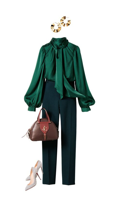 Clothing, Green, Outerwear, Fashion, Blouse, Costume, Sleeve, Formal wear, Neck, Fashion accessory,