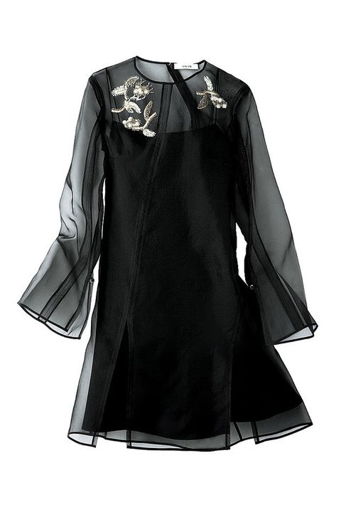 Clothing, Black, Sleeve, Outerwear, Collar, Dress, Blouse, Coat, Overcoat, Day dress,