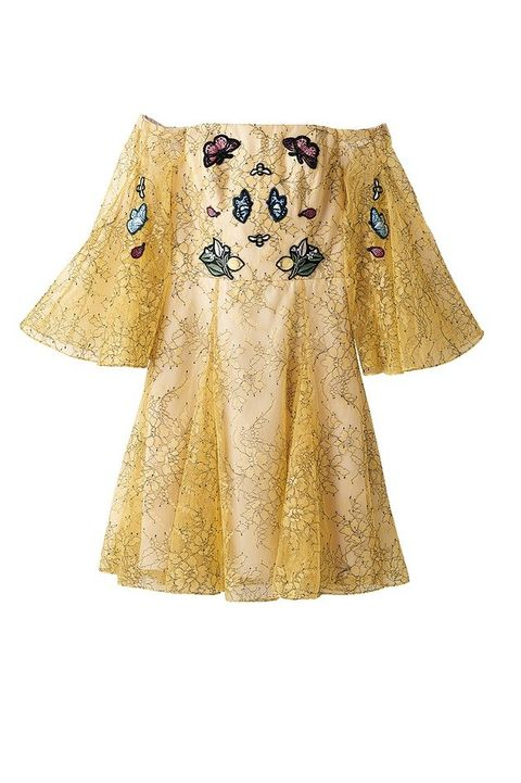 Clothing, Sleeve, Yellow, Outerwear, Dress, Beige, Costume design, A-line, Pattern, Costume,