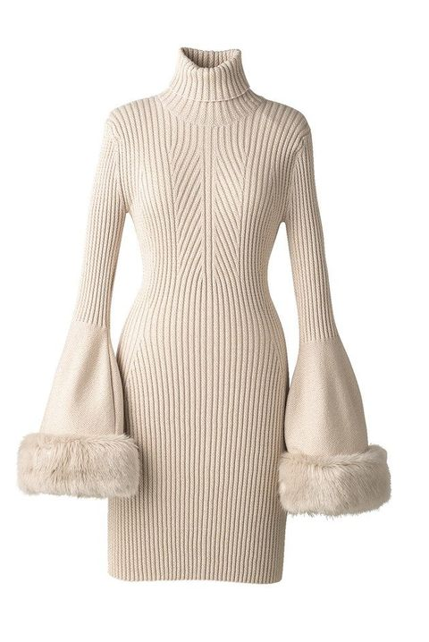 Clothing, Dress, Beige, Neck, Shoulder, Sleeve, Outerwear, Sweater, Joint, Day dress,