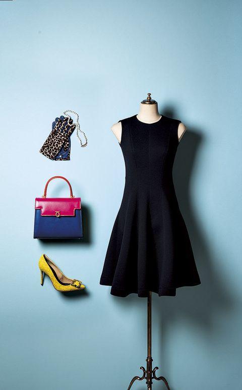 Clothing, Dress, Black, Day dress, Blue, Little black dress, Mannequin, Cocktail dress, Fashion, Yellow,
