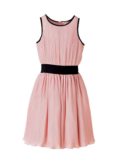 Clothing, Dress, Pink, Day dress, Cocktail dress, Peach, Neck, Sleeve, A-line, Pattern,
