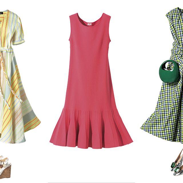 Clothing, Dress, Green, Day dress, Pink, Pattern, Costume design, Pattern, Design, Footwear,