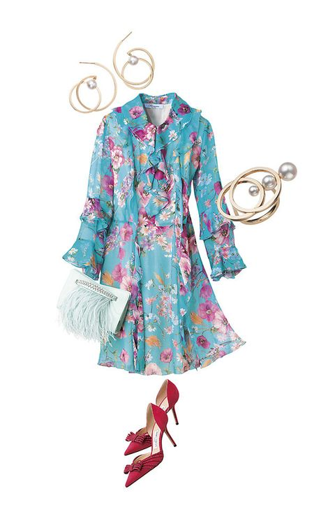 Clothing, Turquoise, Pink, Aqua, Dress, Outerwear, Day dress, Sleeve, Textile, Turquoise,