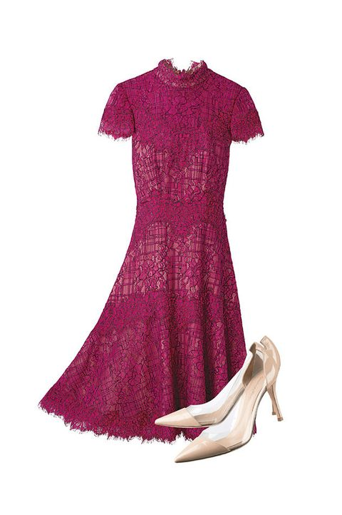 Clothing, Dress, Pink, Day dress, Magenta, Purple, Footwear, Cocktail dress, Sleeve, Textile,