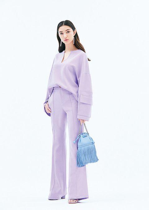 Clothing, Purple, Lilac, Fashion model, Pink, Fashion, Lavender, Shoulder, Violet, Neck,