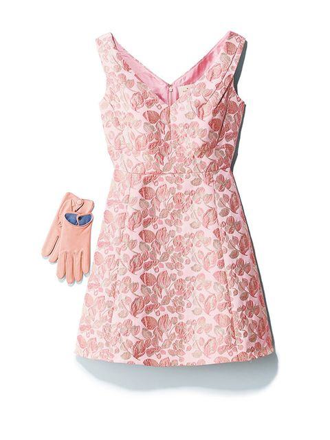 Clothing, Pink, Dress, Day dress, Cocktail dress, Neck, Peach, Lace, A-line, Sleeve,
