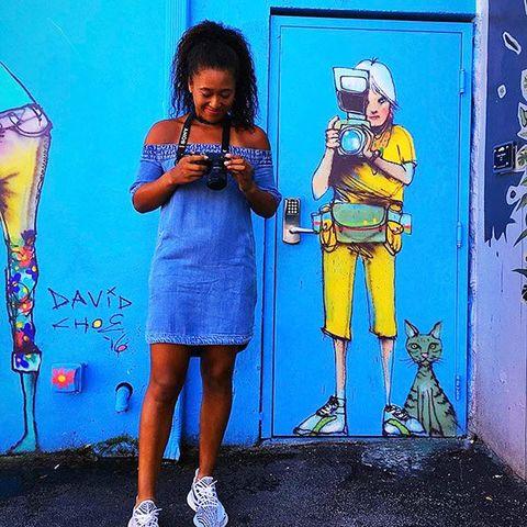 Blue, Yellow, Water, Child, Art, Street art, Electric blue, Recreation, Graffiti, Mural,