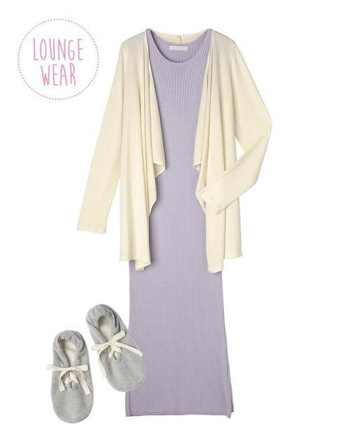 Product, Sleeve, Purple, Lavender, Fashion, Grey, Violet, Beige, Fashion design, One-piece garment,