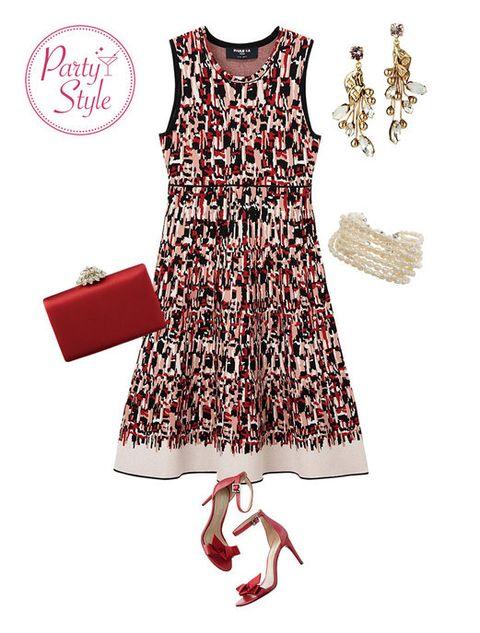 Sleeve, Dress, Red, Textile, Pattern, White, Style, One-piece garment, Carmine, Fashion,