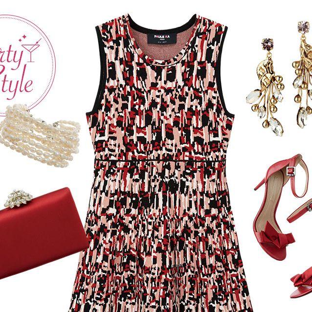 Sleeve, Dress, Red, Textile, Pattern, Style, One-piece garment, Carmine, Fashion, Neck,