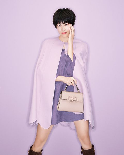 Clothing, Purple, Fashion, Pink, Violet, Shoulder, Outerwear, Costume, Dress, Hime cut,