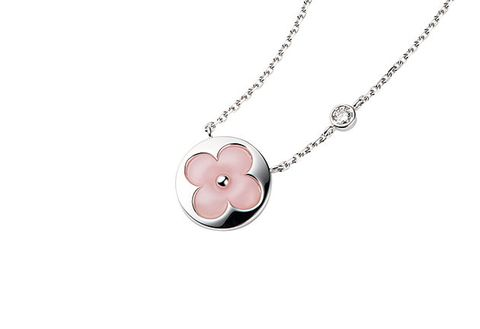 Pendant, Necklace, Jewellery, Fashion accessory, Locket, Chain, Pink, Silver, Body jewelry, Metal,