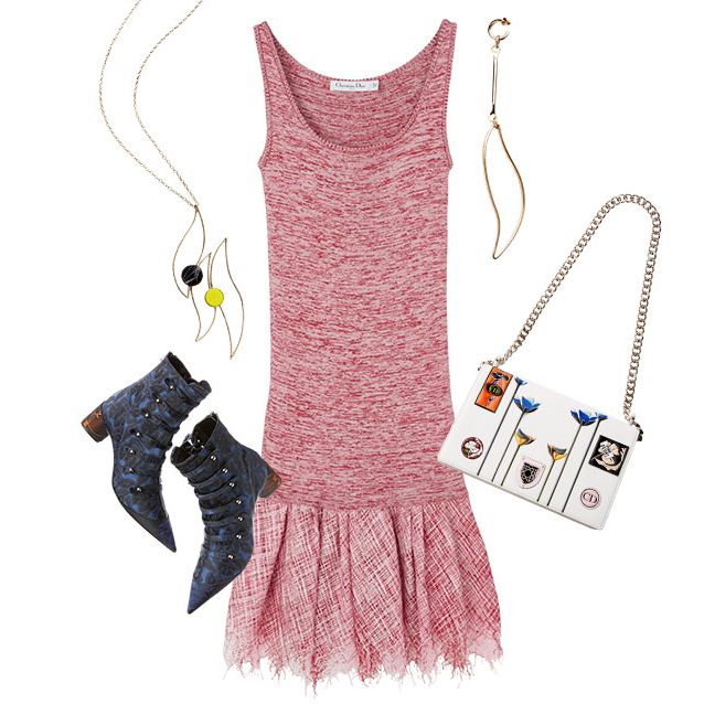 Product, Pink, Pattern, Chain, Neck, Magenta, Necklace, Fashion design, One-piece garment, Day dress,