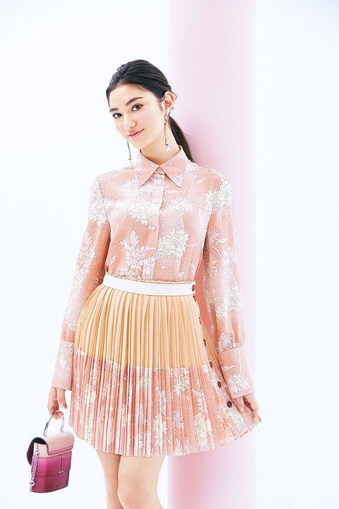 Clothing, White, Pink, Dress, Peach, Waist, Shoulder, Fashion, Fashion model, Beauty,