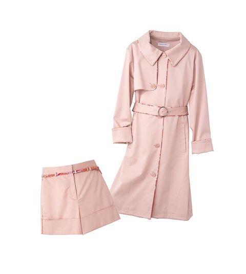 Clothing, Pink, Trench coat, Sleeve, Robe, Outerwear, Collar, Coat, Peach, Beige,
