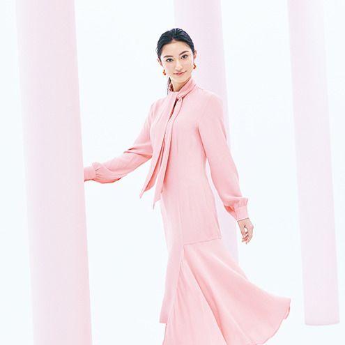 Clothing, Pink, White, Fashion model, Dress, Peach, Formal wear, Fashion, Sleeve, Neck,